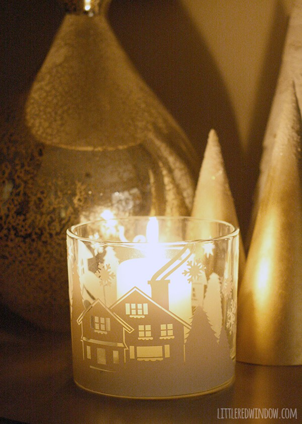 DIY Winter Village Candleholder | littleredwindow.com | The perfect addition to your winter mantel!