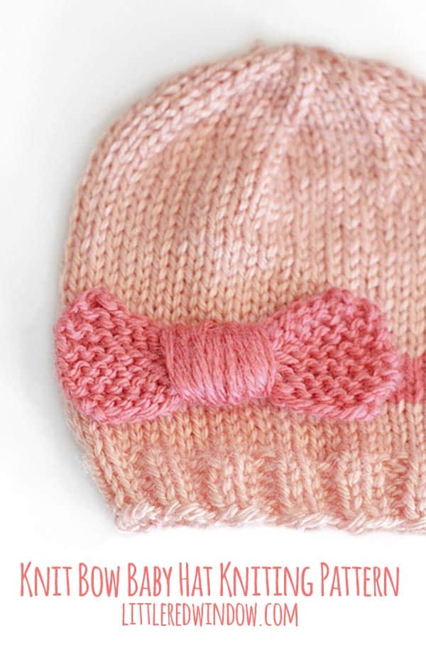 Knit Bow Baby Hat knitting pattern in shades of pink!