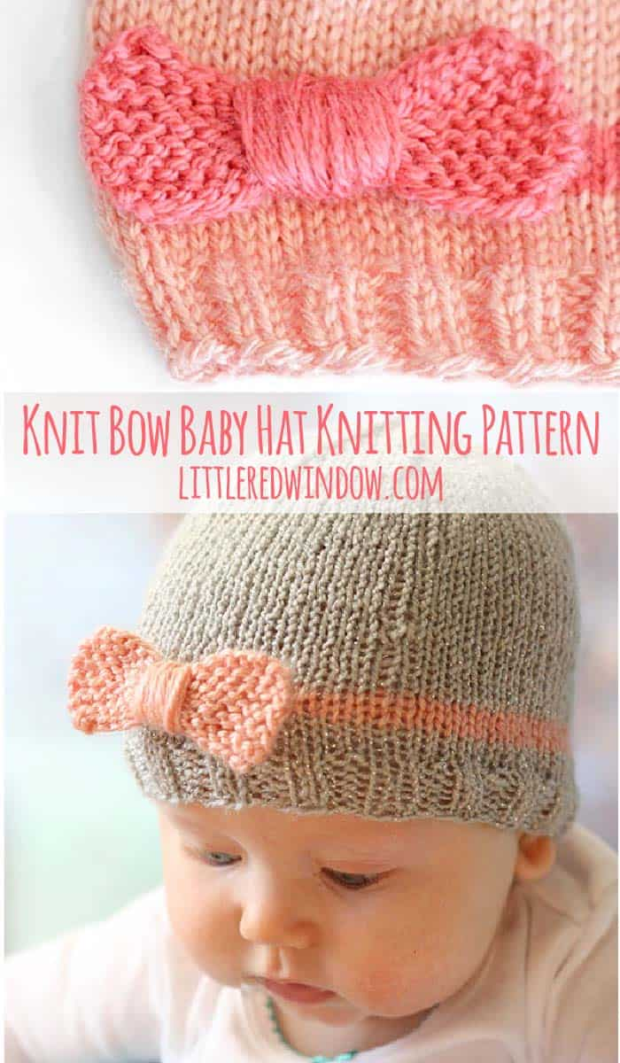 Cute pics of baby wearing Knit Bow Baby Hat knitting pattern!