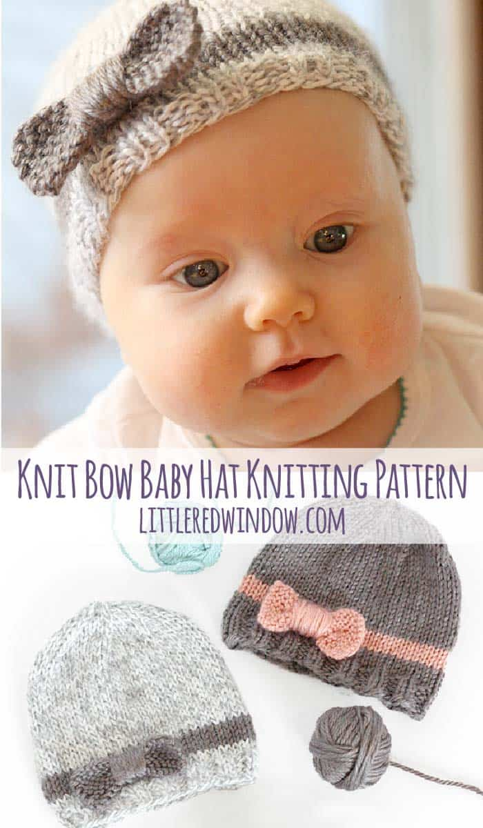 Knit Bow Baby Hat knitting pattern, adorable knit hat with simple bow with instructions available for sizes from newborn to toddler!