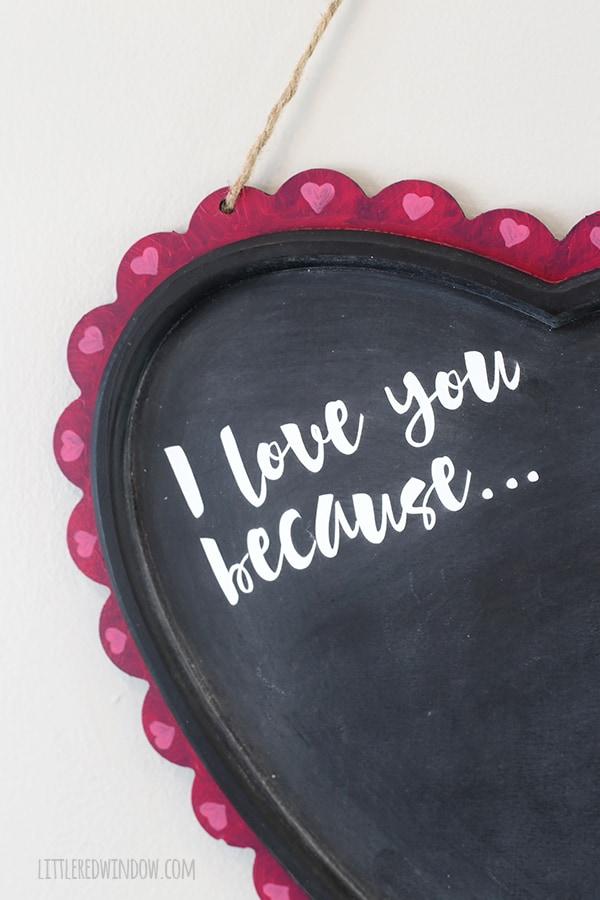 DIY Valentine's Day Gratitude Chalkboard | littleredwindow.com