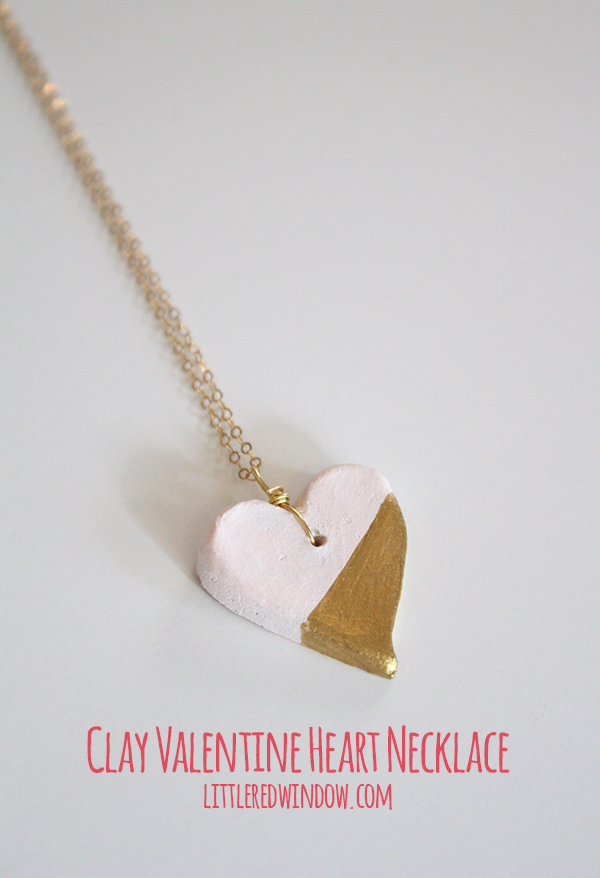 Air Dry Clay Valentine's Day Heart Pendant | littleredwindow.com