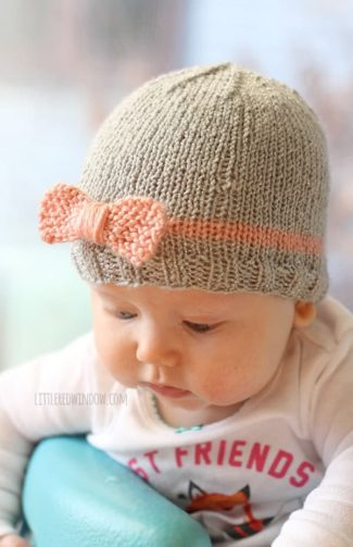 Bow Baby Hat Knitting Pattern