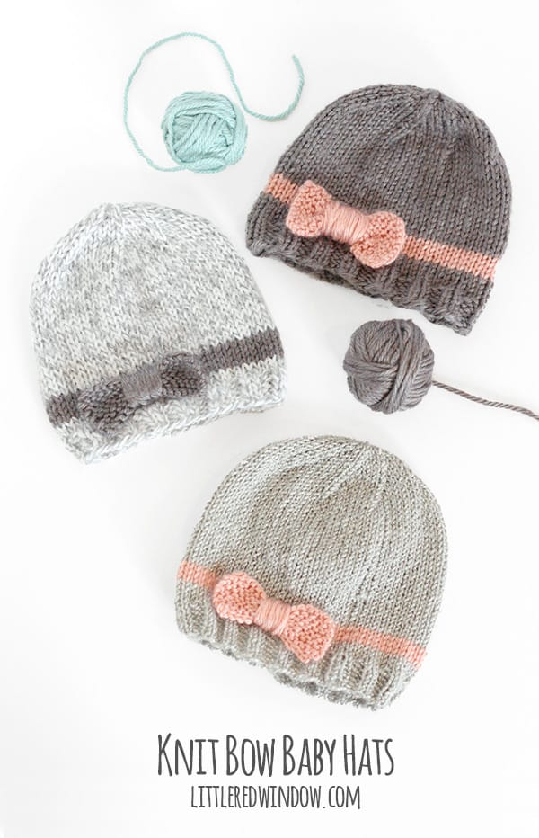 10 cutest free baby hat patterns, here's #1, the KNIT BOW BABY HAT!