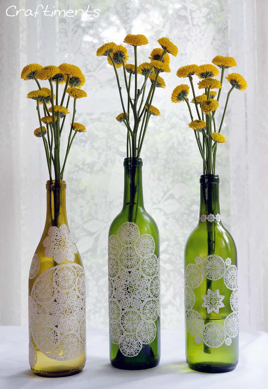 paper doily decoupage bottle 4