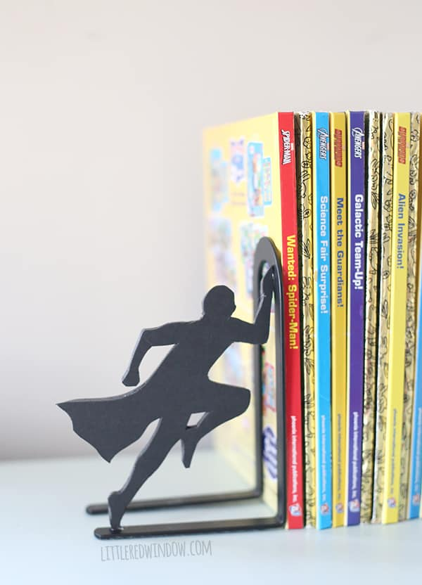 littleredwindow.com DIY Superhero Bookends for the comic book lover in your  life! | littleredwindow.com