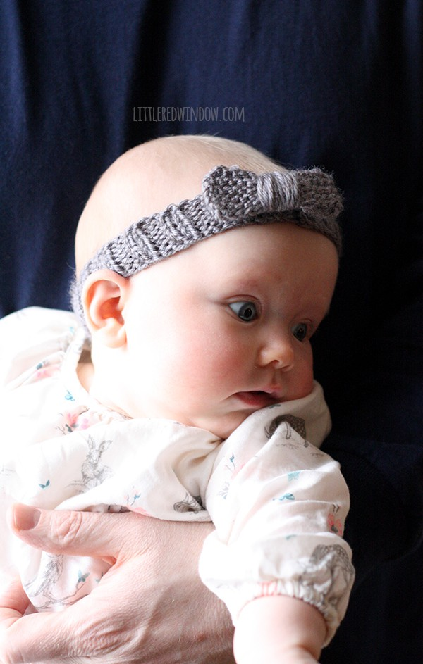 Little Knit Bow Baby Headband Knitting Pattern, learn how to knit a headband for your little one!