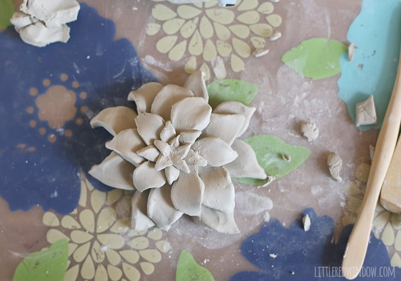 Air Dry Clay Faux Succulent tutorial, perfect if you don't have a green thumb!   littleredwindow.com