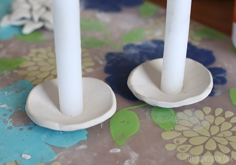 Pretty painted clay candle holders! | littleredwindow.com