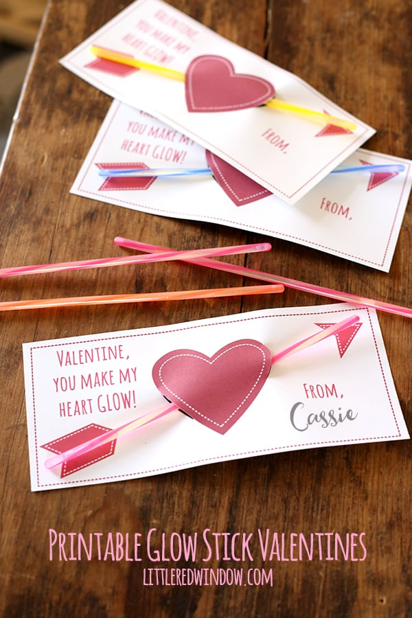 Free Printable Glow Stick Valentines! | littleredwindow.com