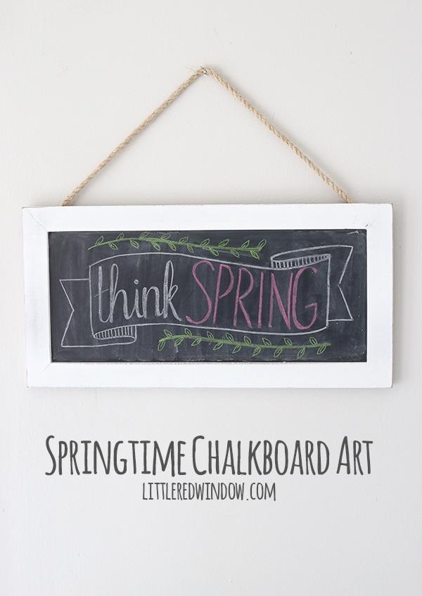 Springtime Chalkboard Art with time lapse video! | littleredwindow.com