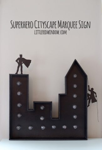 Superhero Cityscape Marquee Sign