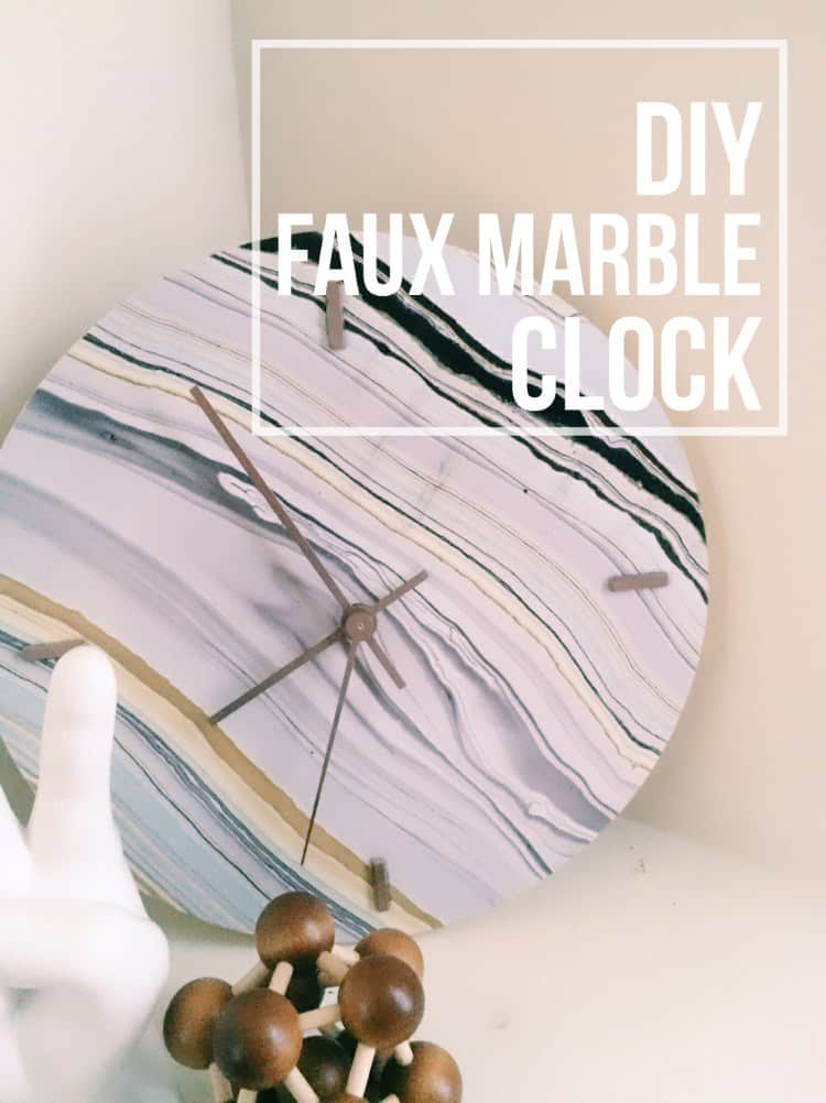 diy-faux-marble-clock-pinterest