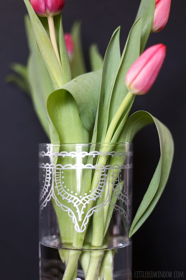 Handpainted Dollar Store Vase, turn a boring vase into a gorgeous metallic Moroccan beauty! | littleredwindow.com