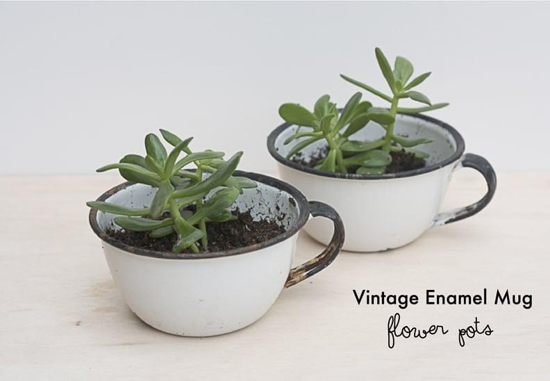 Vintage-Enamel-Mug-Flower-Pots