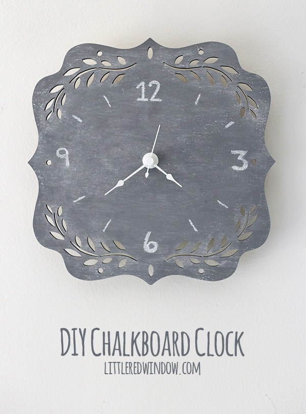 DIY Chalkboard Clock, super simple DIY project! | littleredwindow.com