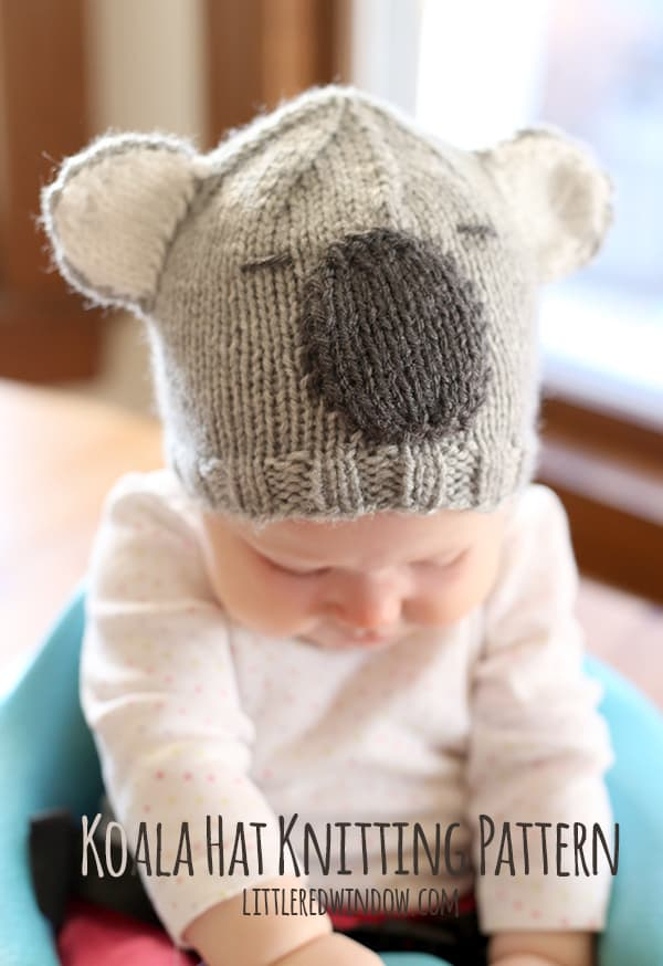 Free Cuddly Koala Hat Knitting Pattern! | littleredwindow.com