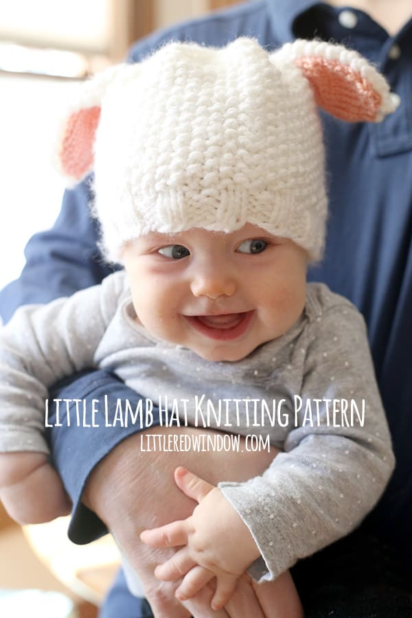 Little Lamb Hat Knitting Pattern for babies and toddlers! | littleredwindow.com