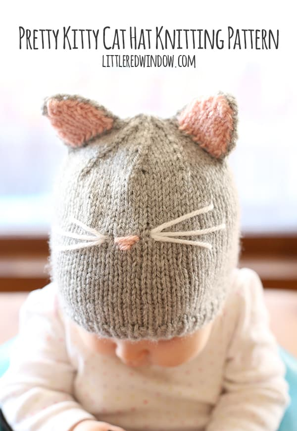 Pretty Kitty Cat Hat Knitting Pattern for newborns, babies and toddlers! | littleredwindow.com