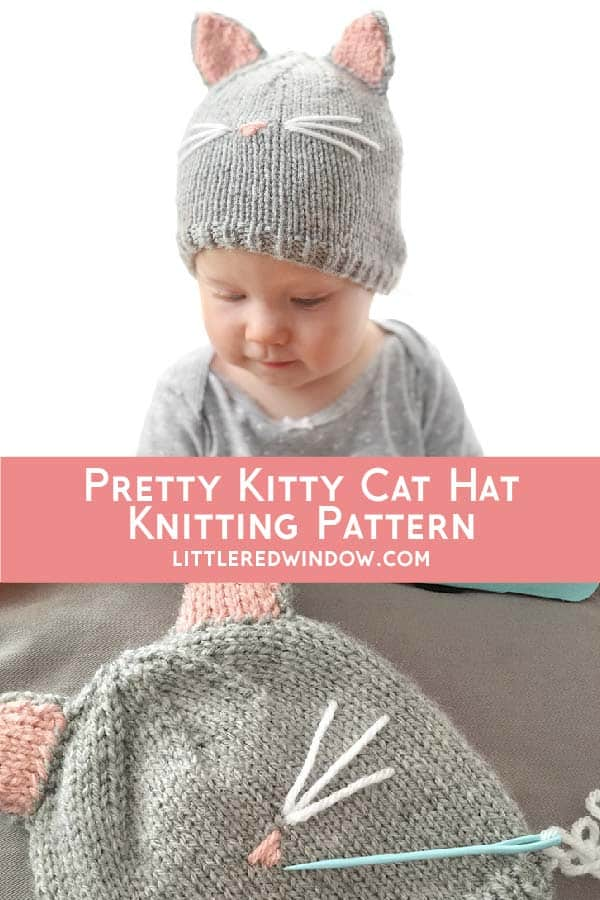 Baby wearing Cat Hat knitting pattern!
