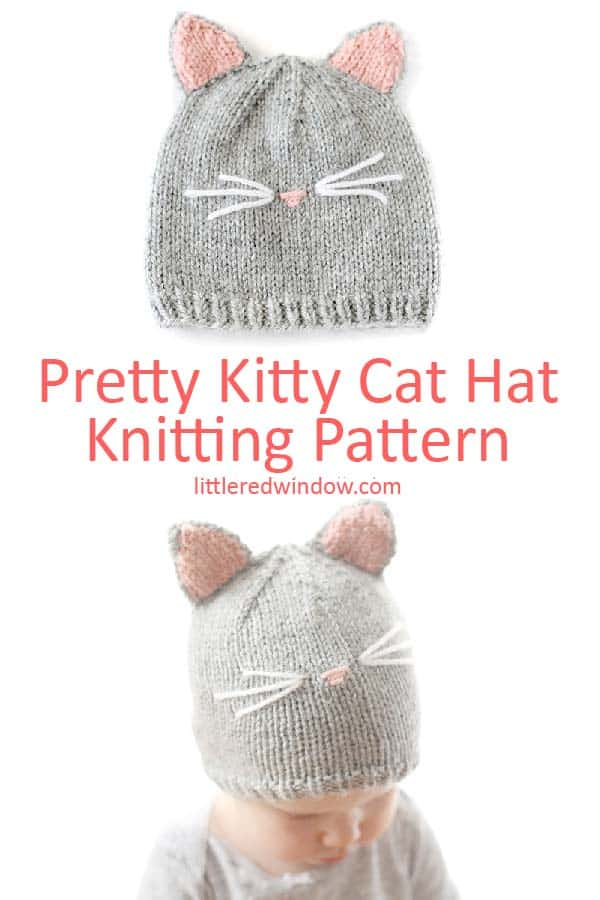 Flatlay view of Pretty Kitty Cat Hat Knitting Pattern!