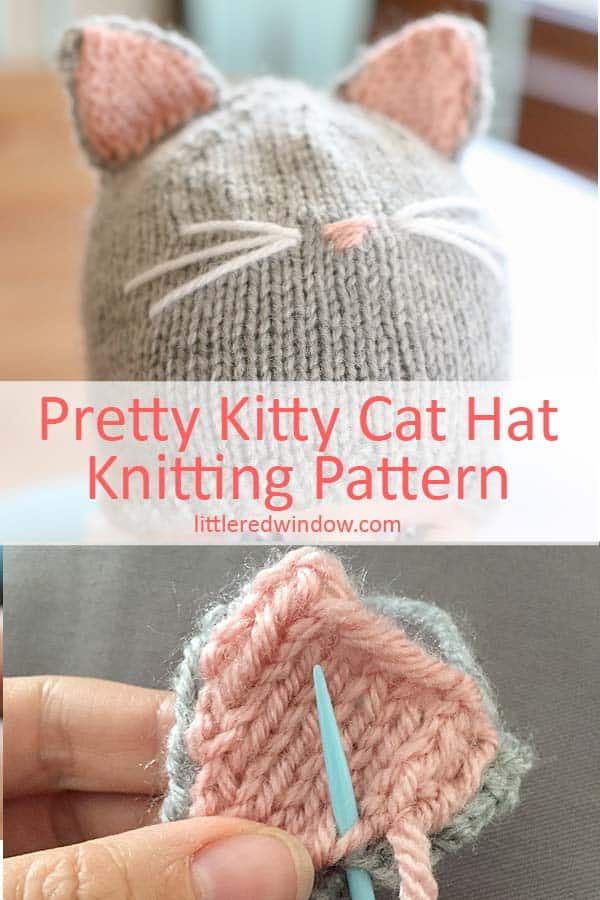 Detail view of assembly of Pretty Kitty Cat Hat knitting pattern!