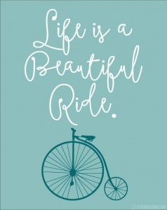 Life is a Beautiful Ride Free Printable from Littleredwindow.com
