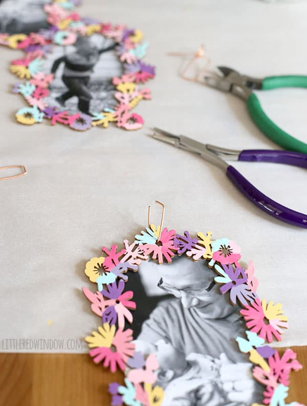 DIY Floral Hanging Picture Frames - so cute, colorful and EASY to make! | littleredwindow.com