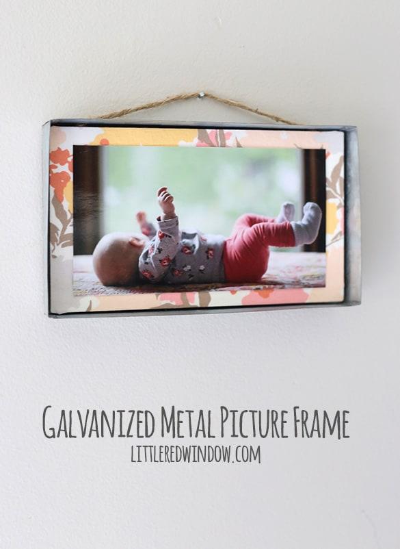 DIY Industrial Galvanized Metal Hanging Frame! | littleredwindow.com