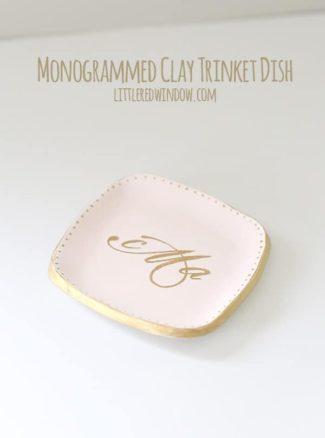 Monogrammed Clay Trinket Dish