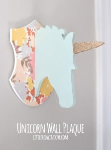Cute Unicorn Plaque - makeover a dollar bin unicorn head plaque with a few easy steps! | littleredwindow.com