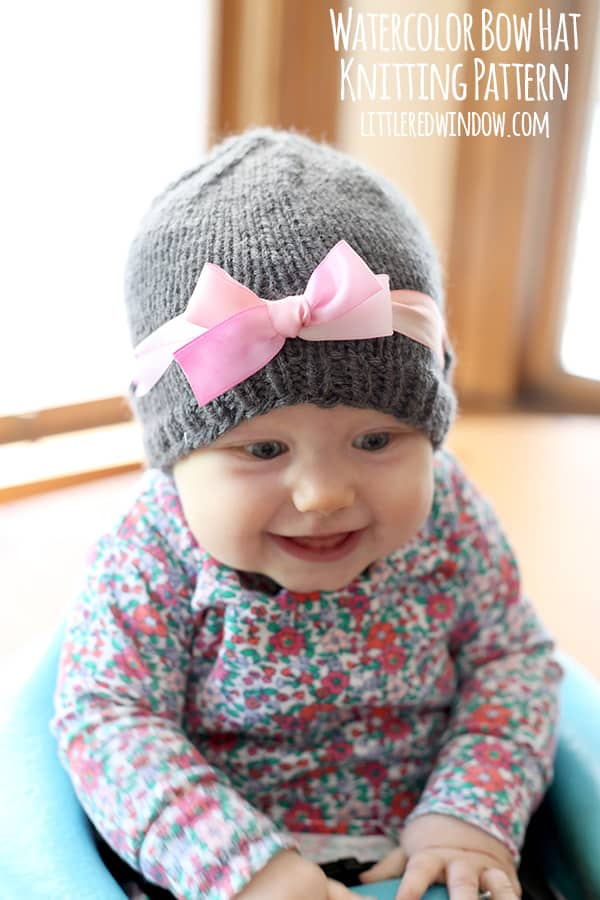 Watercolor Ribbon Bow Hat Free Knitting Pattern! | littleredwindow.com