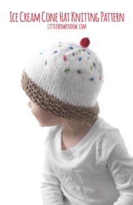 Ice Cream Cone Hat Knitting Pattern, this adorable pattern has a waffle cone brim, delicious vanilla scoop and is topped with sprinkles and a cherry, perfect to knit for your sweet baby or toddler!