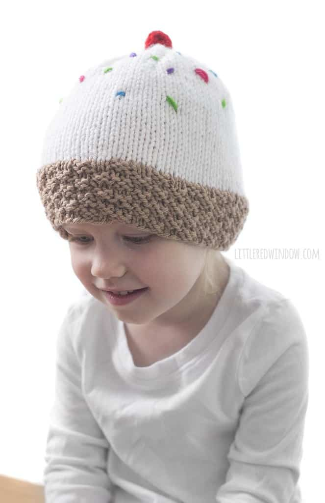 The ice cream cone hat knitting pattern has a great textured waffle cone brim!