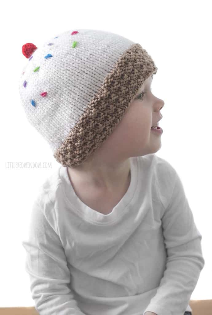 The ice cream cone hat knitting pattern is fun for kids to wear!