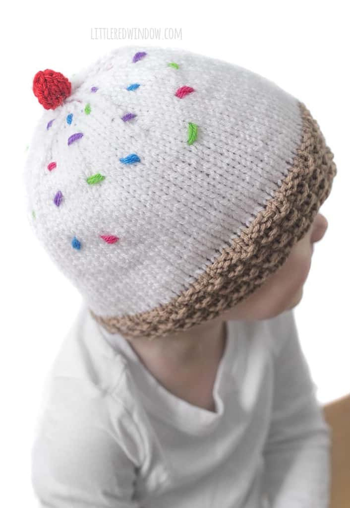 Don't forget to top your ice cream cone hat with sprinkle stitches and a knit cherry!