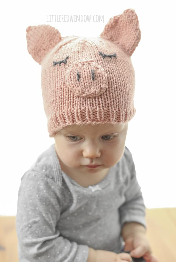 Little Pig Hat Knitting Pattern for newborn, baby and toddler! | littleredwindow.com