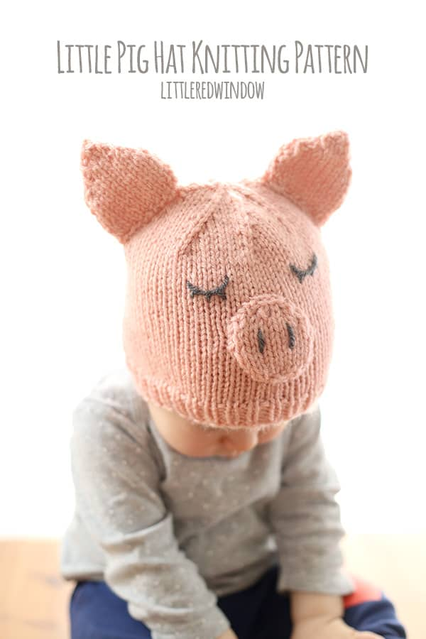 10 cutest free baby hat patterns, here's #10, the LITTLE PIG HAT!
