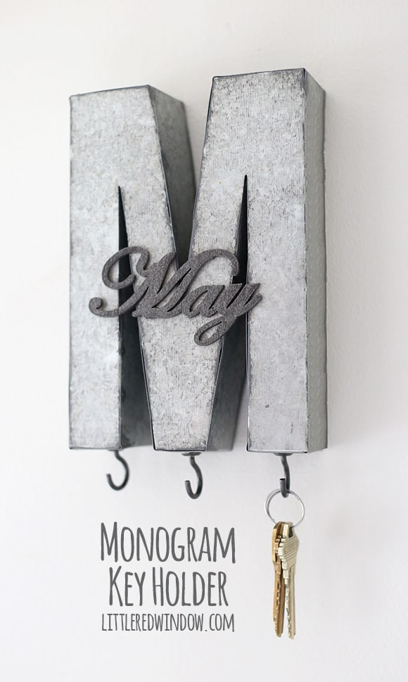 Metal Monogrammed DIY Key Holder Tutorial! | littleredwindow.com