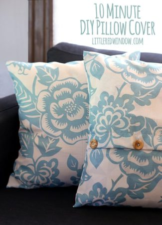 10 Minute Buttoned DIY Pillow Cover