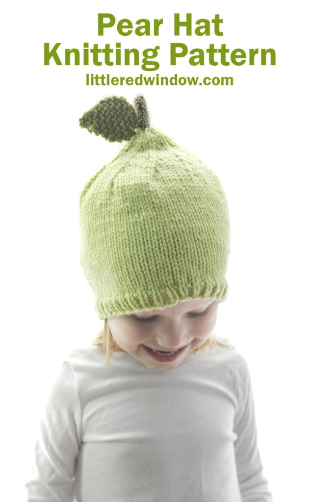 Knit up an adorable pear hat with this knitting pattern for babies and toddlers!