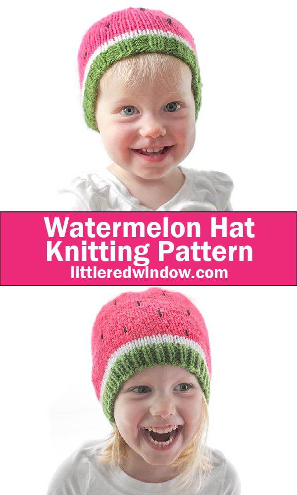 Sweet Watermelon Hat Knitting Pattern for newborns, babies and toddlers!