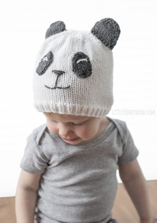Sweet Panda Hat Knitting Pattern for newborns, babies and toddlers! | littleredwindow.com