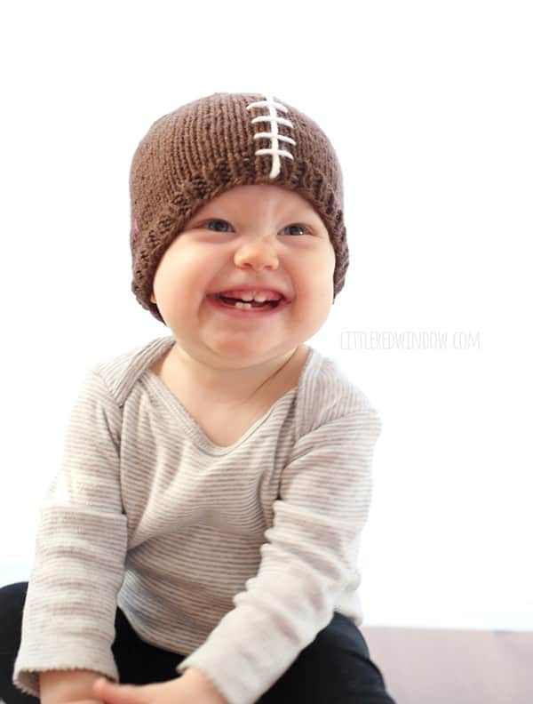 Fun Free Football Hat Knitting Pattern for babies and toddlers! | littleredwindow.com