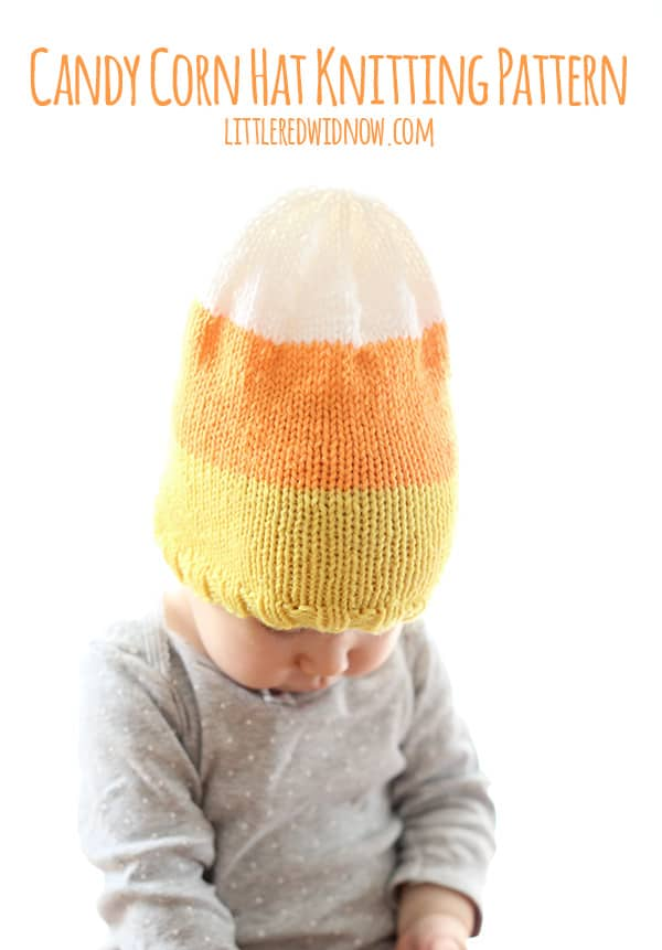 Yummy Candy Corn Hat Knitting Pattern for babies and toddlers!   littleredwindow.com