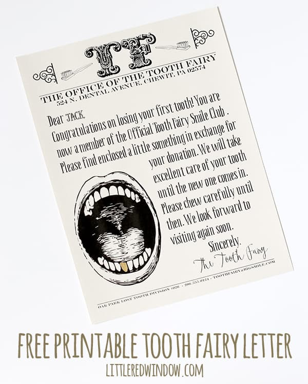 FREE printable Tooth Fairy Letter to use when your little one loses a tooth! | littleredwindow.com