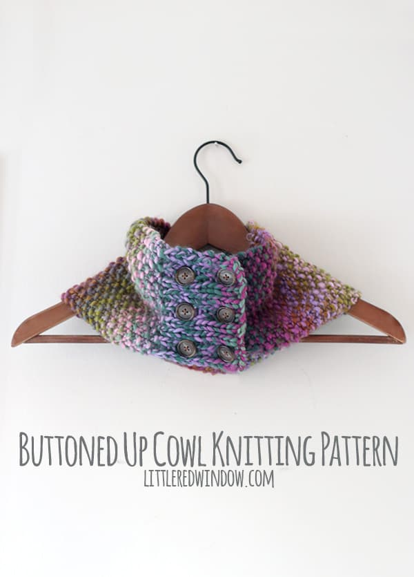Buttoned Up Cowl Knitting Pattern - Little Red Window