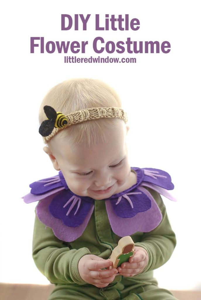 DIY Flower Costume and Bee Headband, so perfect for Halloween! This costume starts with a warm pair of PJs and is super easy to put together!