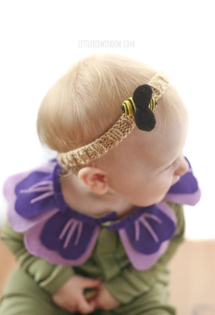 Add a little bee headband to your baby's flower Halloween costume!