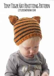 Tiny Tiger Hat Knitting Pattern for Babies! | littleredwindow.com